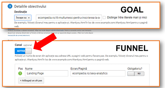 Cum setam corect un goal in Google Analytics?