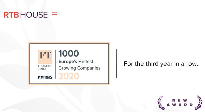 RTB House: locul 23 in Europa, la categoria tech, in topul FT 1000 (dedicat companiilor cu cea mai rapida dezvoltare)