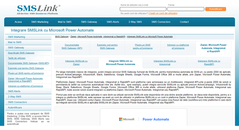 SMSLink pentru Microsoft Power Automate, Power Apps si Azure Logic Apps ajuta la automatizarea fluxurilor de notificari SMS pentru magazinele online