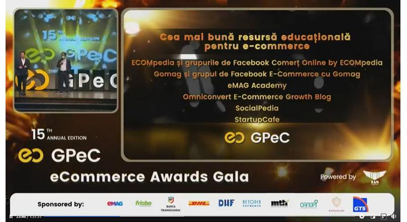 ECOMpedia a fost premiata la Gala Premiilor eCommerce (GPeC SUMMIT Online)