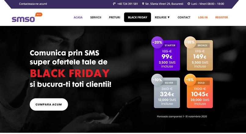 Platforma de mobile marketing SMSO are o oferta speciala pentru Black Friday