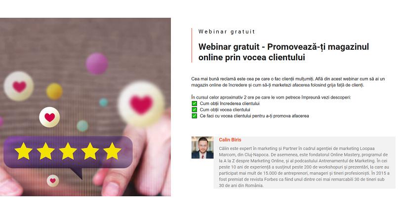 Promoveaza-ti magazinul online, prin vocea clientului (webinar gratuit)