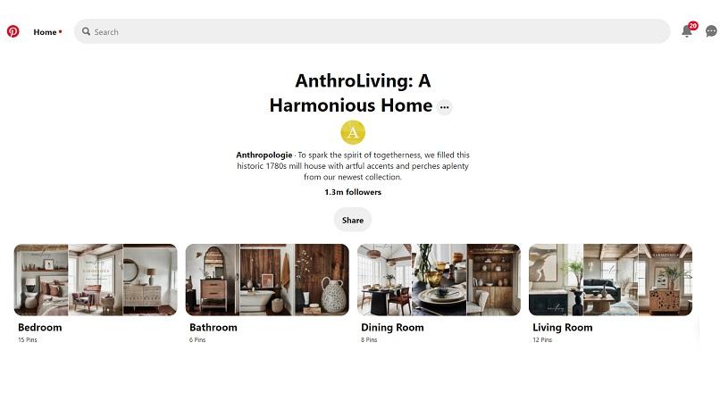 Anthropologie si-a lansat primul catalog digital, pe Pinterest