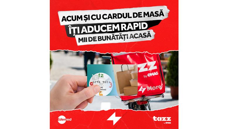 Premiera: Tazz by eMAG si Edenred Romania lanseaza plata online cu carduri de masa, pentru comenzi de mancare