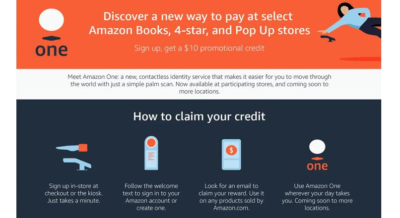 Amazon da americanilor 10 $ pentru a le obtine amprenta palmara