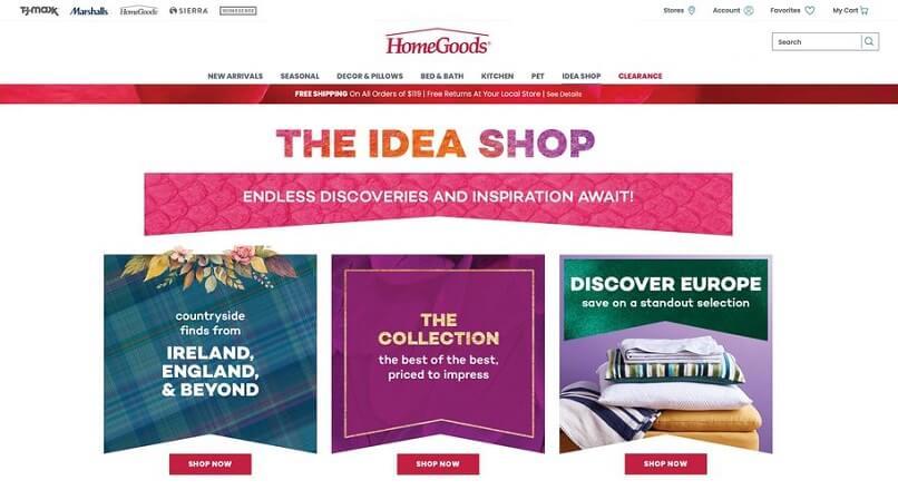 Dupa 820 de magazine fizice, HomeGoods si-a lansat si site online